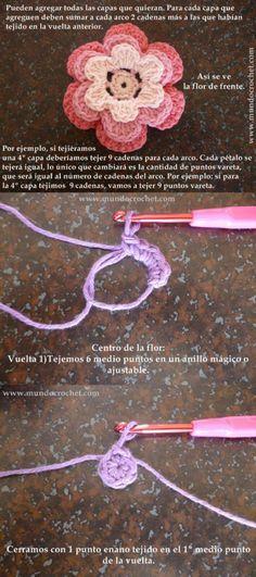 Como tejer una flor en capas a crochet o ganchillo08