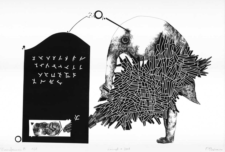 "Open Art Warsaw Artist: Piotr Pasiewicz, Linocut+, 2011, ""Transformacja 8 1/1"", 100x70"