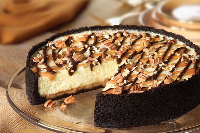 Creamy cheesecake. Oreo Cookie crust. Chocolate-caramel drizzle. A dash of pecans. Be sure to save yourself a piece, because this is gonna go fast.
