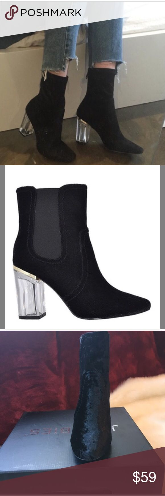 """💋Velvet Clear Heel Ankle Boot Bootie 💋Brand new in box  💋Feature memory foam insole and 4"""" heel.  💋Material: Man Made Velvet  💋Sizing: These are size 8  ✅Bundle 3 items and save 15% (Maybe a bikini and some shades?)  ⭐️⭐️⭐️⭐️⭐️Rating ⛔️Trades ✈️Ships same day if ordered by 10:00 PST Shoes Ankle Boots & Booties"""