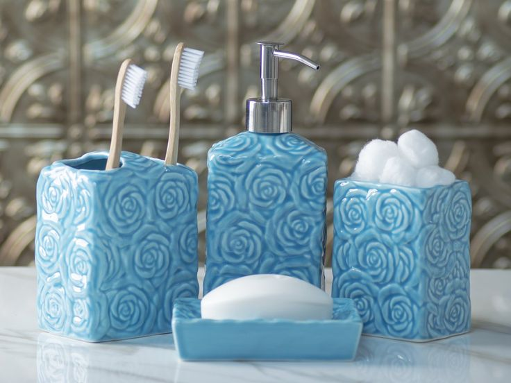 Designer 4-Piece Ceramic Bath Accessory Set by Comfify | Includes Liquid Soap or Lotion Dispenser w/ Premium Metal Pump, Toothbrush Holder, Tumbler, Soap Dish | Wild Rose | Aqua Blue. The perfect blend of elegant luxury design, high-quality materials, and superior functionality.