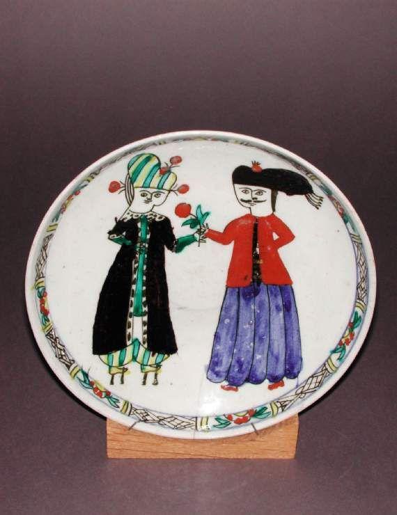 Maker(s) & Production: Unknown, potter, Turkey, Anatolia, Kutahiya, Kütahya Category: fritware (stonepaste) Name(s): dish Islamic pottery; category Kütahya; category Date: circa 1700 — circa 1799 School/Style: Ottoman Period: 18th century