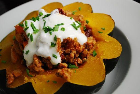 Spicy Ground Pork Stuffed Acorn Squash Recipe – 8 Points   - LaaLoosh