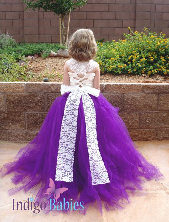Flower Girl Dress Weddings Tutu Dress Plum Purple by indigobabies, $135.00