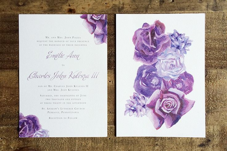 Romantic purple wedding | Invitation suite featuring handpainted florals | by Angelina Perricone
