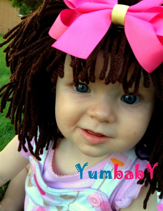 Baby Hat Brown Wig Hat Ready to Ship Girl Wig Halloween by YumBaby, $29.95