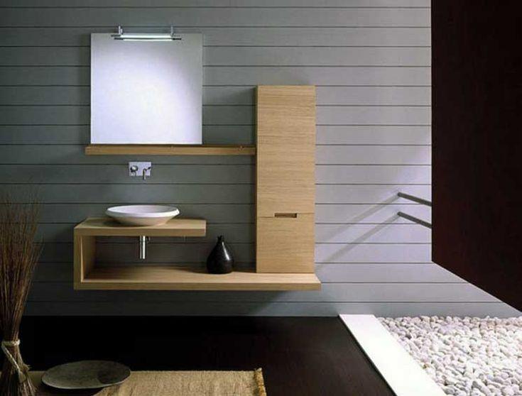 Concept luxe de meuble salle bain design avec le style de meubles en ch ne ajout par du gravier - Cree un meuble salle de bain en dur ...