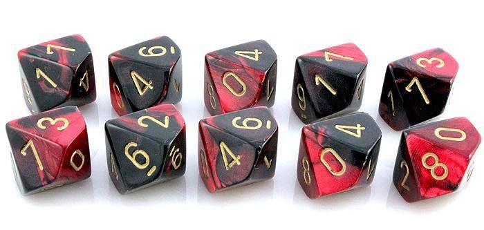 Gemini Dice (Black and Red); 10 X D10 Dice Set