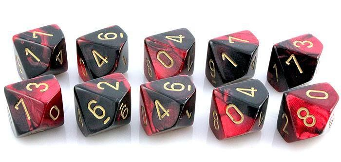 Gemini Dice (Black and Red); 10 X D10 Dice Set