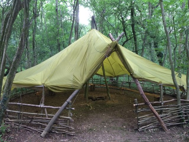 Parachute Shelter at our base in the woods. #Bushcraft #Shelter #Parachute