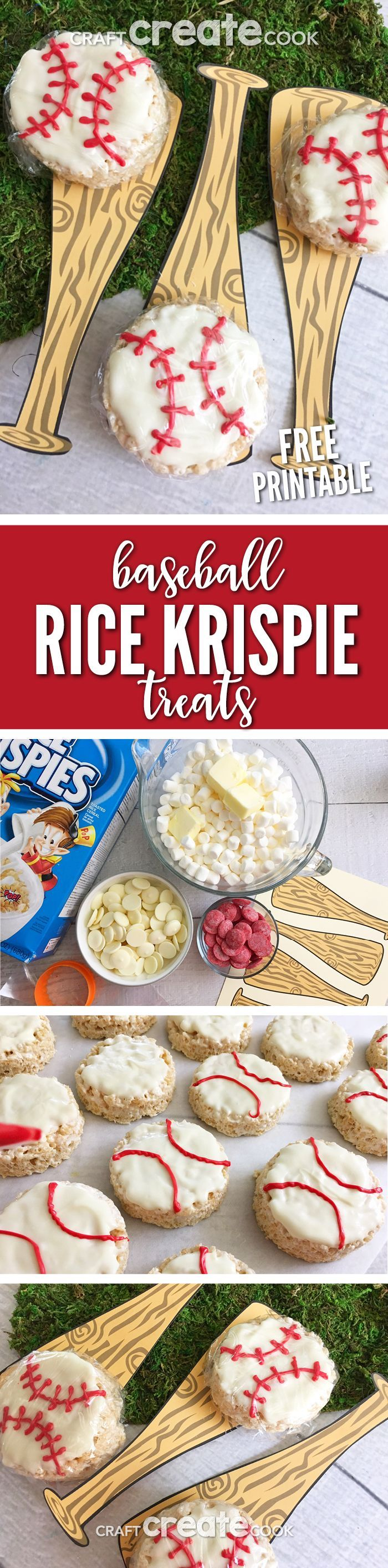 These Baseball Rice Krispie Treats are easy to make and have a free printable to go along. via @CraftCreatCook1