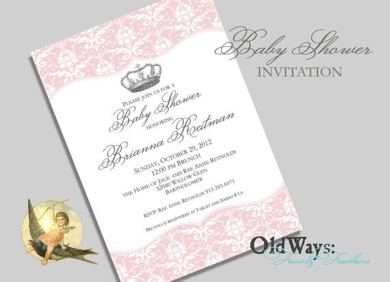Printable Princess Baby Shower Invitation For A Girl Pink Silver