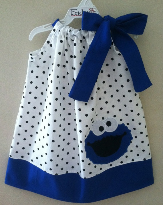 Adorable cookie monster pillowcase style dress. $26.00, via Etsy.
