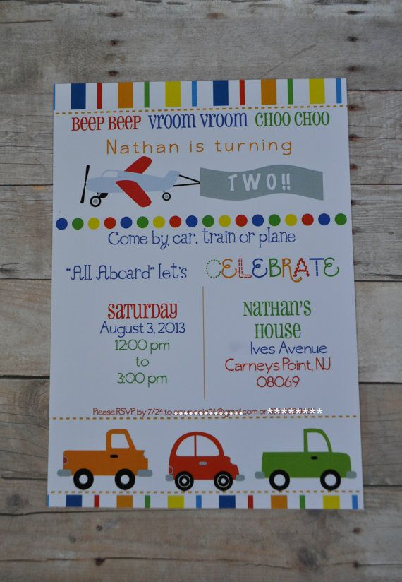 Transportation Birthday Party Invite Planes by JustDandyevents