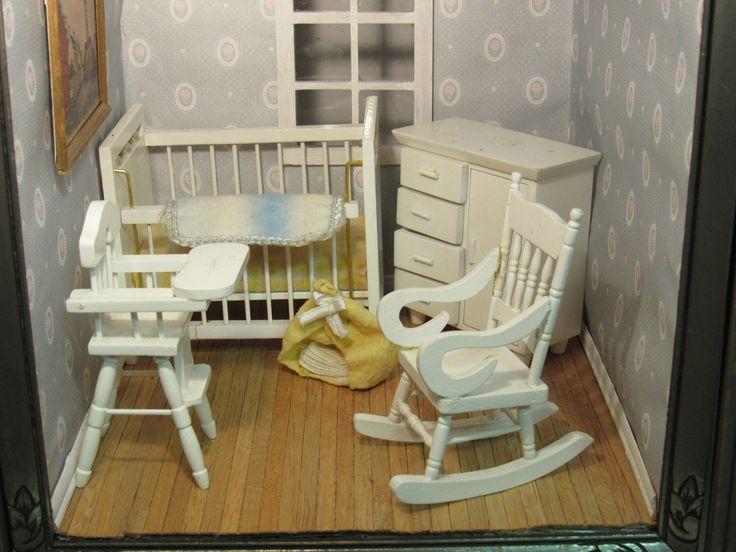 Dollhouse Miniature Baby Nursery White Rocking Chair, Crib