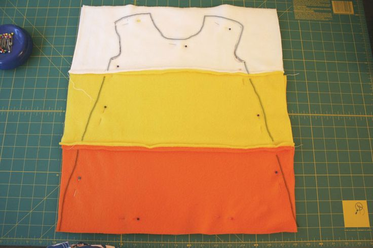 DIY fleece candy corn costume