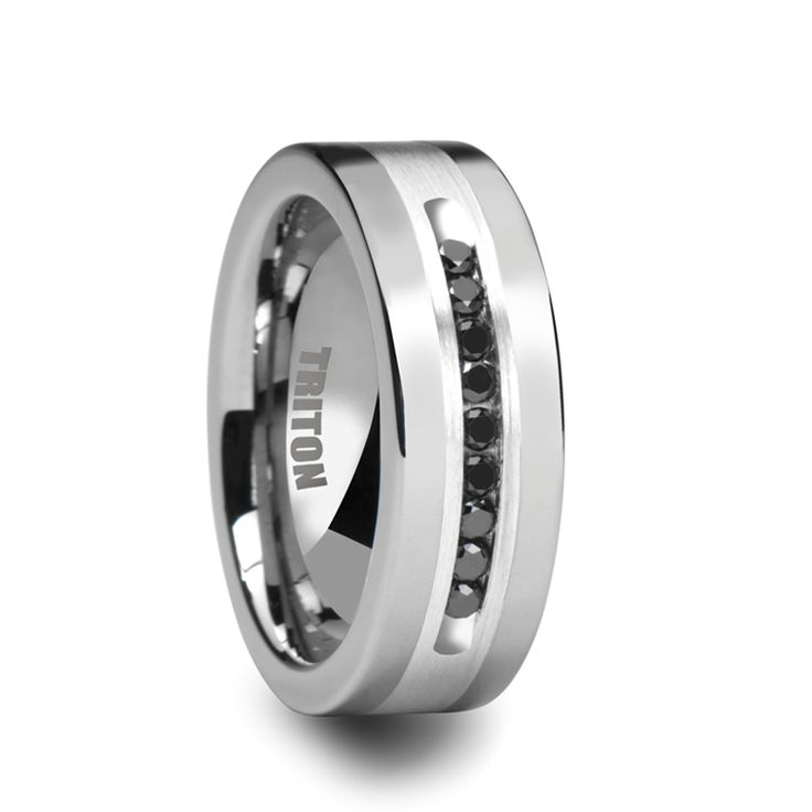 CALVIN Flat Tungsten Ring with Silver Inlay and Channel Set Black Diamonds by Triton Rings - 9mm