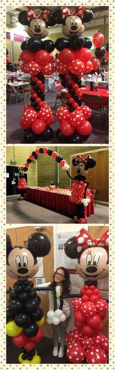 Want to add some fun to your next kid's party? Try these Minnie and Mickey Mouse balloon columns | www.balloon-decoration-guide.com
