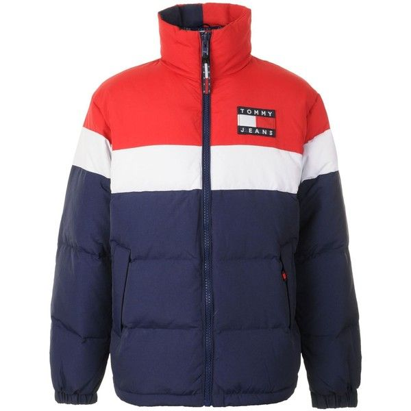 71b3ac541 TOMMY JEANS Multi Puffer Coat ( 260) ❤ liked on Polyvore featuring ...