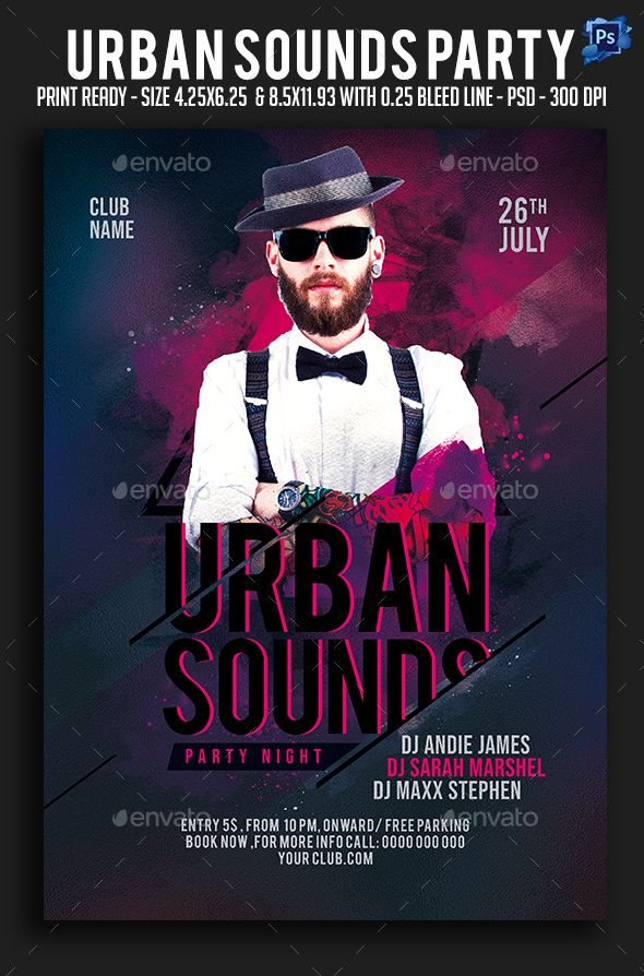 Urban Sounds Party Flyer Sounds Urban Flyer Party Print