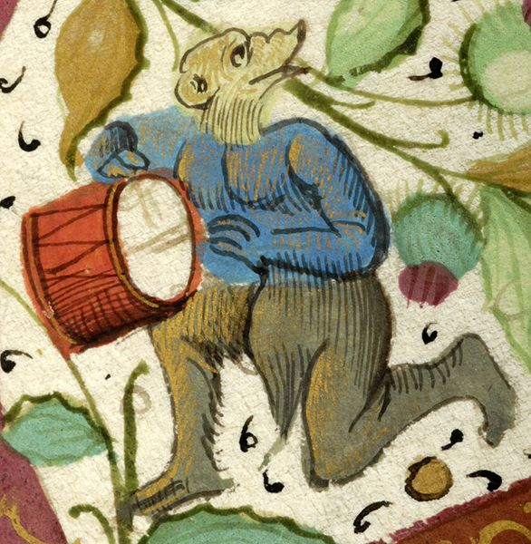 Bear playing drum | Breviary | France | ca. 1511 | The Morgan Library & Museum