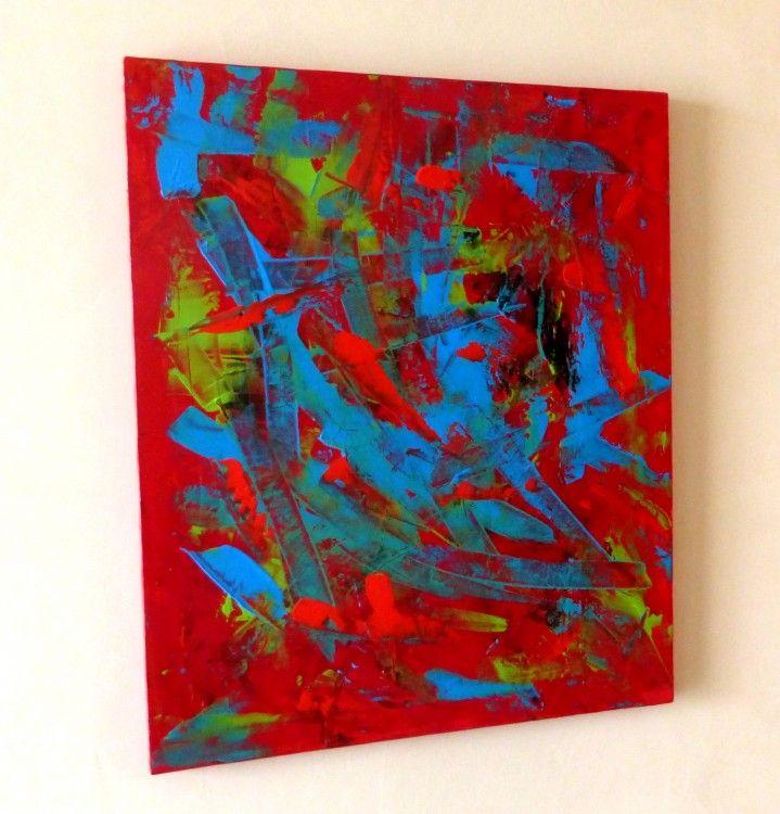 Tableau peinture abstrait contemporain rouge pulsion peinture abstraite abstract painting - Tableau abstrait contemporain ...
