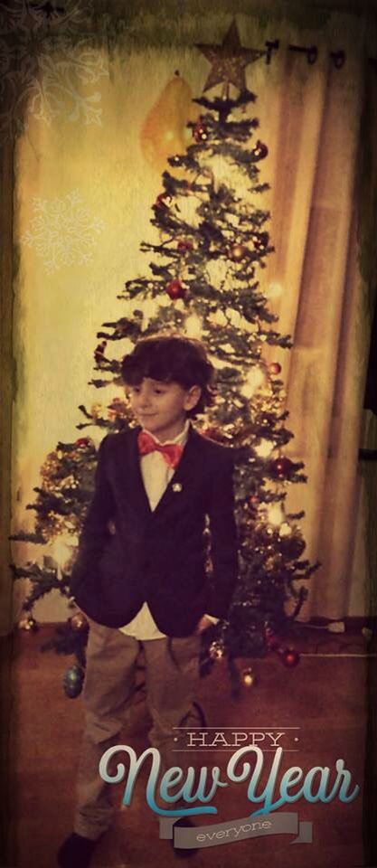 New year 2015 boy outfit blazer Christmas tree