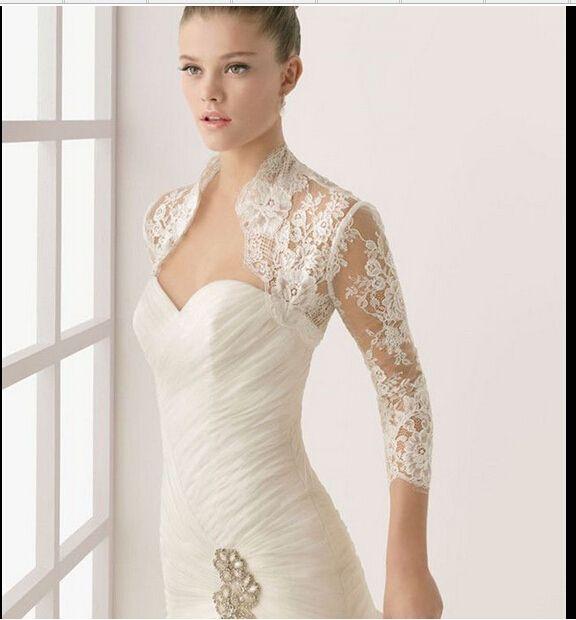 Fashionable  Long Sleeves Bridal Jackets White Ivory Lace Wedding Boleros Bridal Wedding Wrap Custom