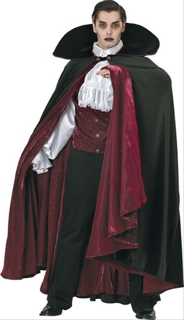 Super Deluxe Count Dracula Halloween Costume - Deluxe Dracula is an amazing costume made for the theater. This Costume comes with the essential vampire pieces. The Shirt is a thick vest made from a shot taffeta and soft velour vines embedded on it. The shirt does up in the back, which is plain black, with series of heavy duty Velcro strips. The base of the shirt is a soft yet thick satin with buttons dotting the front, a big collar and puffy sleeves. #dracula #mens #costume #yyc #calgary