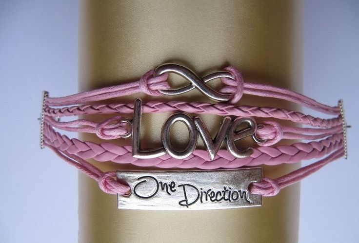 One Direction Wrap Bracelet with Love & Infinity Charms. Pink Charm Bracelet