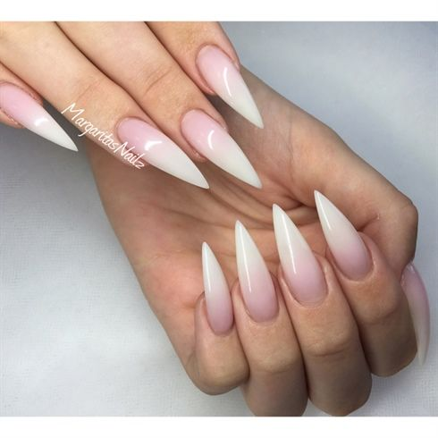 French Ombré Stiletto Nails  by MargaritasNailz from Nail Art Gallery