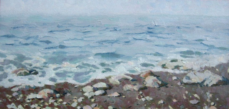 Adriatic shore 2008,. #Oil #landscape #painting with sea and shore. 2008, oil on canvas on hardboard, 16x29.5 cm