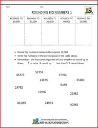 free 4th grade math worksheets rounding big numbers 1