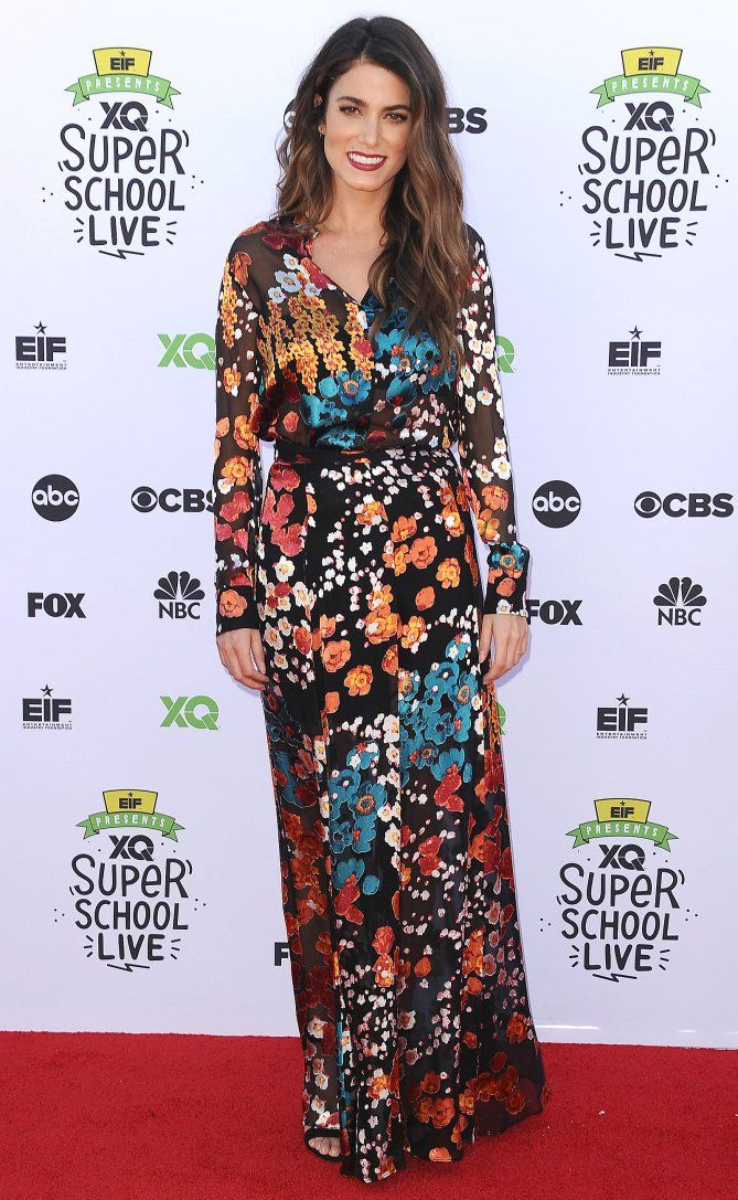 Nikki Reed in a floral maxi dress