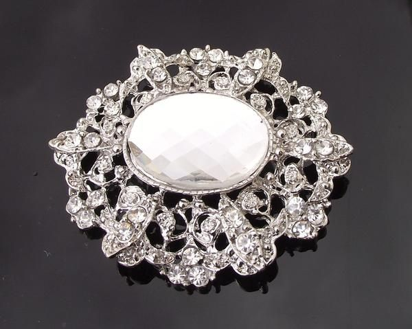 Wedding Brooches - Antique Style Filigree Brooch, Marquis