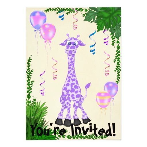 Girls Safari Purple Giraffe Birthday Invitation