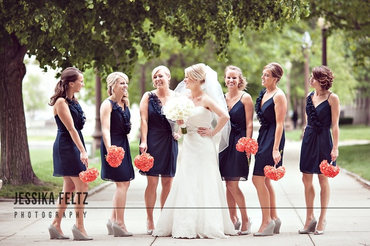 posing bridesmaids, blue and coral wedding, navy and coralColors Combos, Navy Bridesmaid, Bridesmaid Dresses, Fountain Squares, Wedding Colors, Coral Weddings, The Navy, Navy Blue, Coral Flower