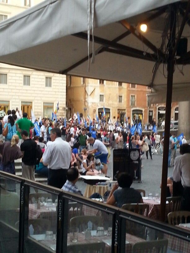 Dining at the Pantheon. Always something to watch. Peaceful protest watched closely by the police.