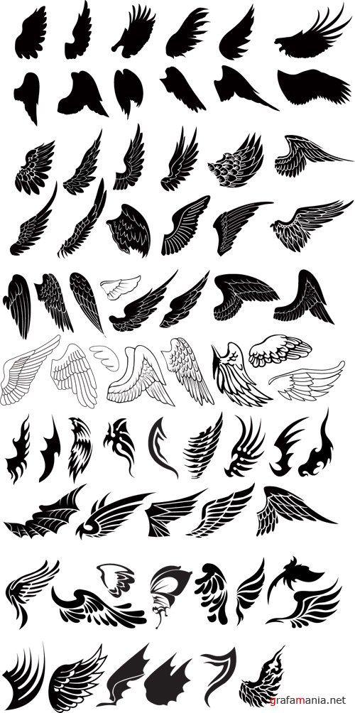 Wing, wings of all kinds.  Векторная коллекция - Крыльев