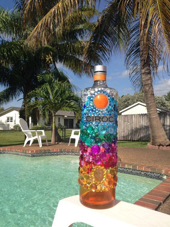 Bedazzled peach Ciroc bottle by BedazzledBottles on Etsy