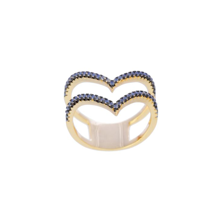 Gold Over Silver / Black Rhodium Rose Opal Double Chevron Ring