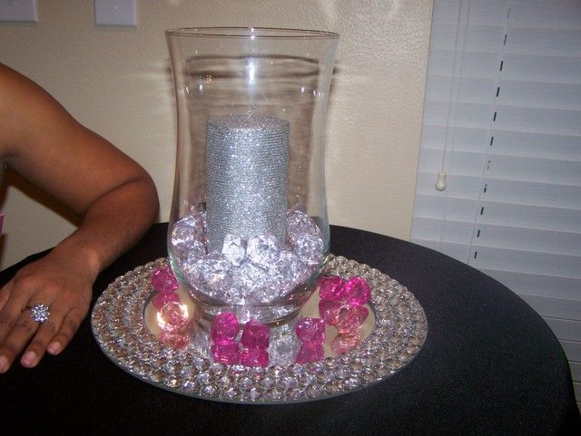 Diamonds Shower--mirror centerpiece w/ rhinestones, fake diamonds, glitter candle
