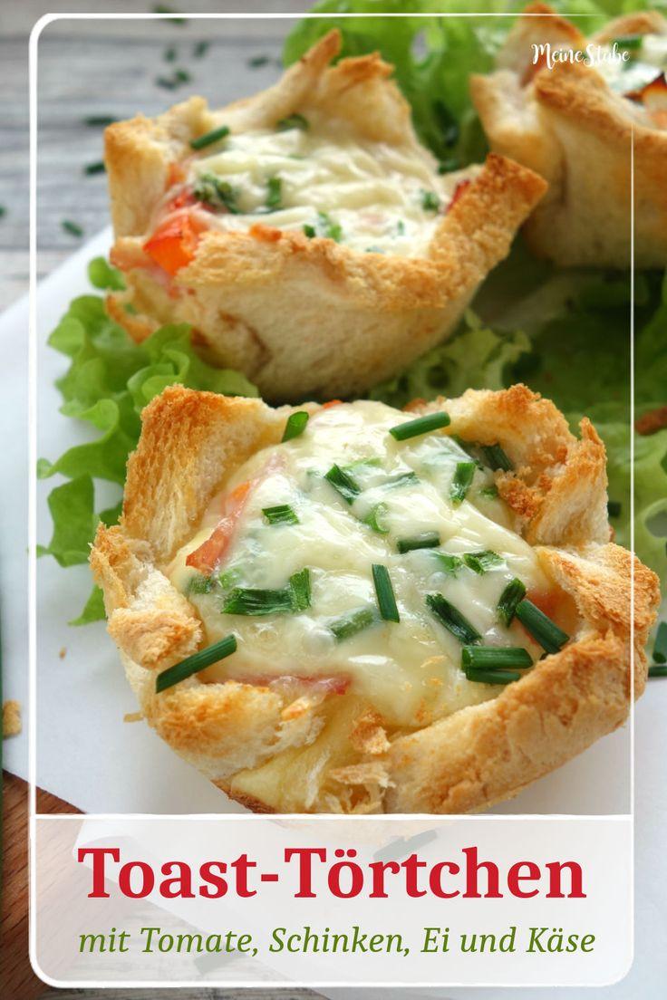 Rezept für Toast-Törtchen, gefüllt mit Tomate, Schinken, Ei und Käse. Ideal …