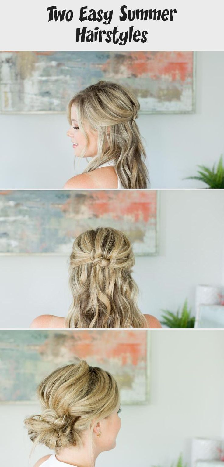 Two EASY Summer Hairstyles // by Kate Bryan at the Small Things Blog #summerhairstylesVideos #summerhairstylesOver40 #summerhairstylesHalfUp #summerhairstylesForRoundFaces #summerhairstylesForTeens