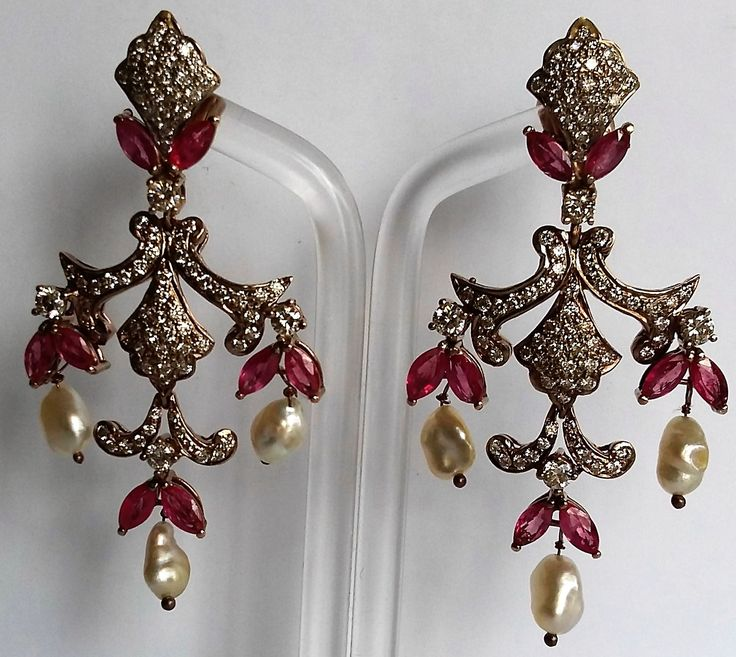 Diamond, ruby and natural pearl earrings. 8 Brilliants: 0.90 cts. 154 Diamonds: 2.16 cts. 16 Burmese ruby: 3.00 cts. 6 Natural pearls: 7.65 cts. XIX Century. 18 K gold. www.gutgalgems.com