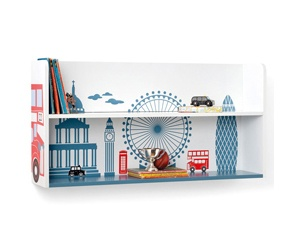 Super cute London skyline bookcase. Great way to brighten up your children's room and a great storage solution too.