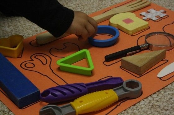 Gather up some random items and trace them onto a piece of paper.  Voila – instant homemade matching game. Students will find this activity similar to doing a puzzle.  It's great for cognitive skills and shape recognition.