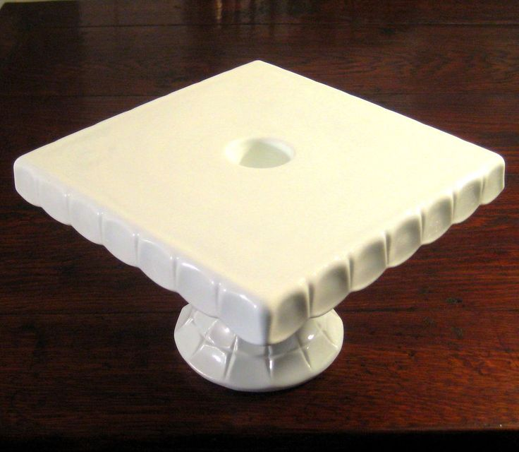 Indiana Glass Constellation Pattern Milk Glass Square Pedestal Cake Stand