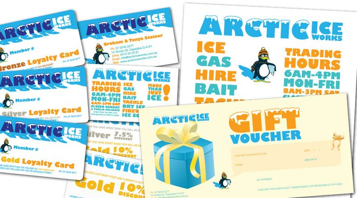 Arctic Ice Works   - collaterals created: Identity, Business Cards, Loyalty Cards, Pullup Banners, Magnets, Flyers, Brochures, Letterheads, Signage