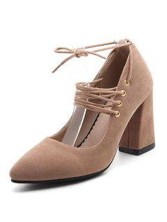 Zapatos de tacón de puntera puntiaguada Piel sintética Color liso con cordones de tacón gordo